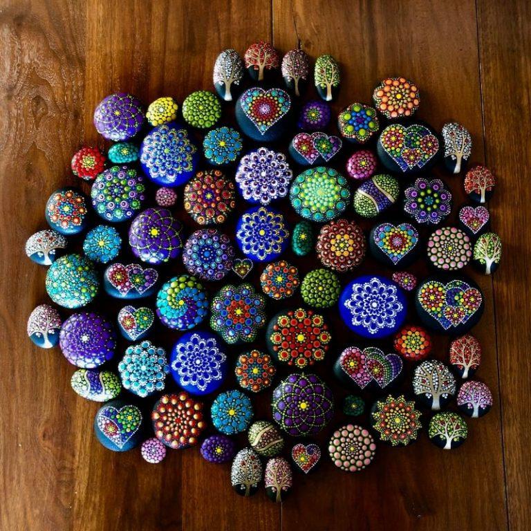 Hand-painted Mandala Stones 8/22/21 1pm