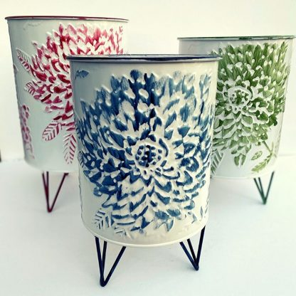 Stamped Floral Planters