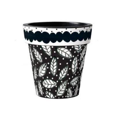 "Black and White Leaves 12"" Art Pot"
