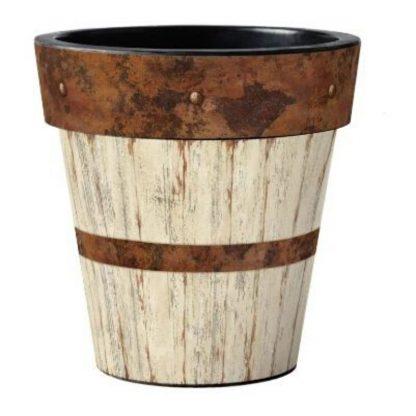 "Whitewash Wood 15"" Pot"