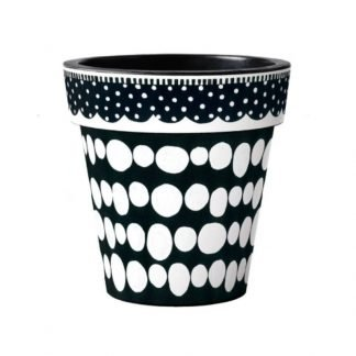 "Black and White Dots 15"" Art Pot"