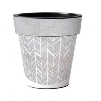 "Faux Concrete Herringbone 15"" Art Pot"