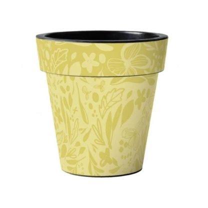 """Yellow Pattern 15"""" Art Pot"""