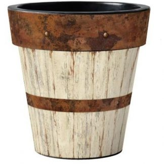 "Whitewash Wood 18"" Pot"