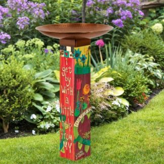 Sentimental Journey Bird Bath Art Pole w/ Copper Topper