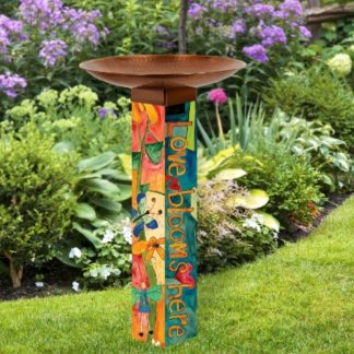 Love Garden Bird Bath w/ Copper Topper