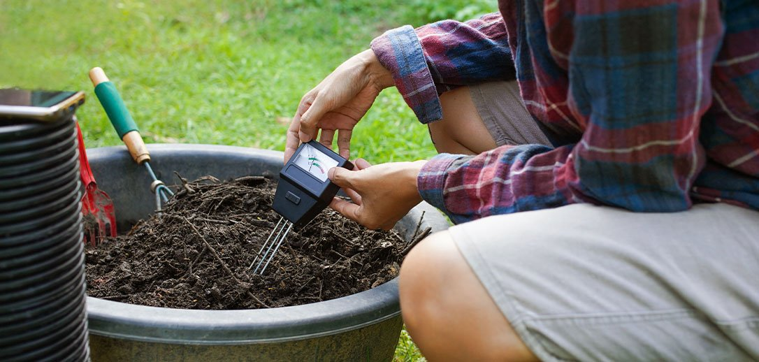 person testing soil in planter