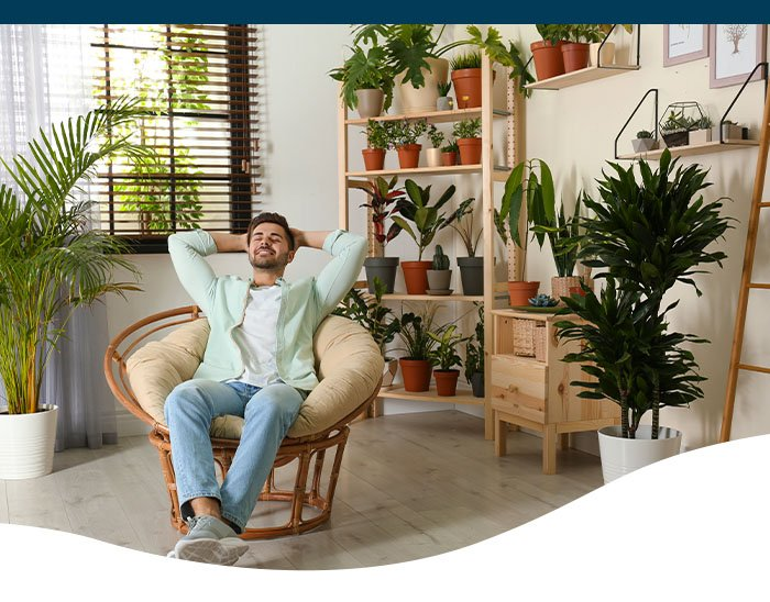 man in room with houseplants