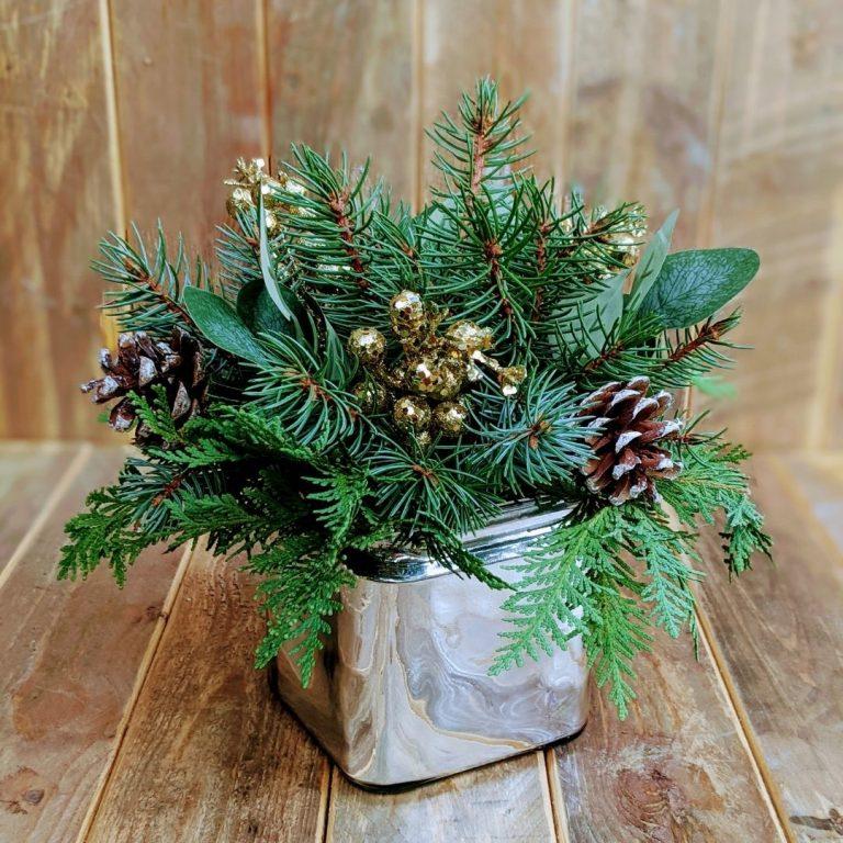 Silver Tabletop Evergreen Pot Workshop 11/21/21 2pm