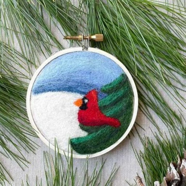 Felted Winter Cardinal 11/21/21 1pm